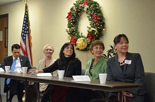 U.S. Rep. Kevin Yoder (from left), Kansas Sen. Kay Wolf, and Kansas Reps. Melissa Rooker, Barbara Bollier and Stephanie Clayton at the NEJC Chamber's legislative breakfast Friday.