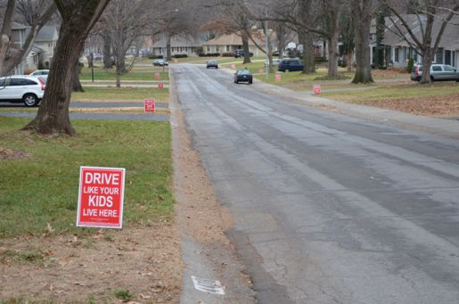 64th Street from Delmar to Granada is lined with reminders that you should mind your speed in the neighborhood.