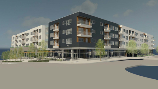 A rendering of the development with a view from the southwest.