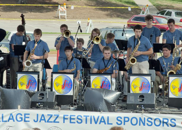SM East's Jazz Band playing at the Prairie Village Jazz Festival in 2011. (Photo via KCJazzLark.blogspot.com).