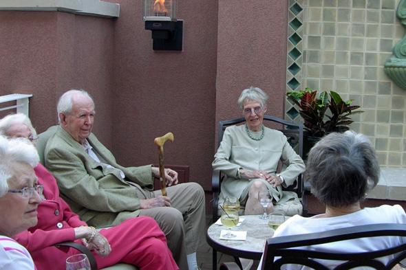 Claridge Court residents on the new veranda.