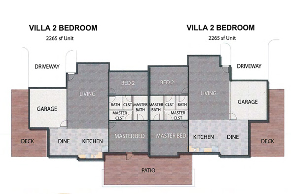 A floor plan for the villas