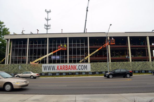 The Karbank building on Shawnee Mission Parkway is well into its reconstruction.