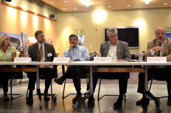 Leawood Councilor Carrie Rezac (L-R), Roeland Park Mayor Joel Marquardt, Unified Government Commissioner Jim Walters, Raytown Mayor David Bower and Prairie Village Mayor Ron Shaffer participated in the panel discussion.