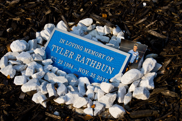 Part of the memorial to Tyler Rathbun in the Shawnee Mission East senior parking lot.
