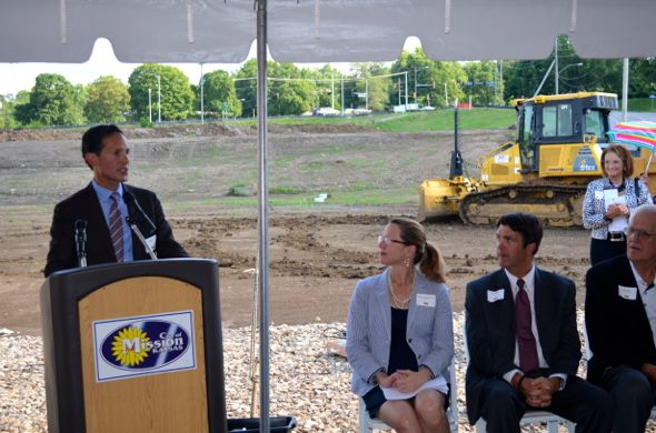 Tom Valenti, the developer of the Gateway project, spoke at the groundbreaking ceremony as Mission Mayor Laura McConwell, Mission Councilor Dave Shepard and County Commission Chair Ed Eilert listened.
