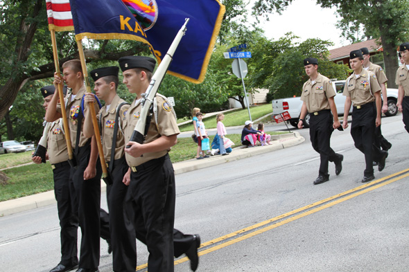 The ROTC color guard was out front, leading the parade down Mission Road.