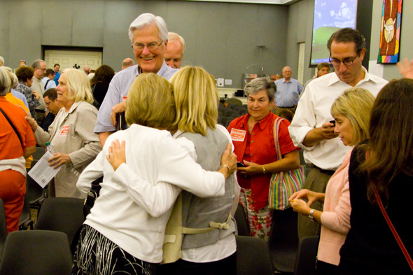 Members of the Mission Valley Neighbors Association celebrated after the governing body voted down the project Tuesday.