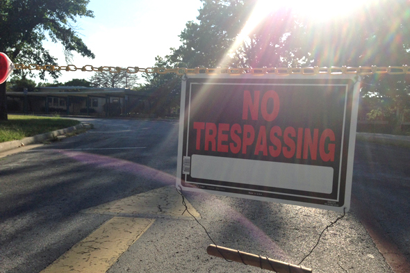 Yellow chains and no trespassing signs blocked the three entrances to Mission Valley Thursday.