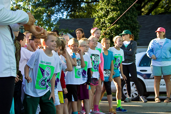 Eager Panthers lined up for the start of the 5K Saturday morning.