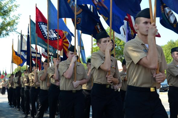 The award-winning SM North ROTC program marched with an array of flags.