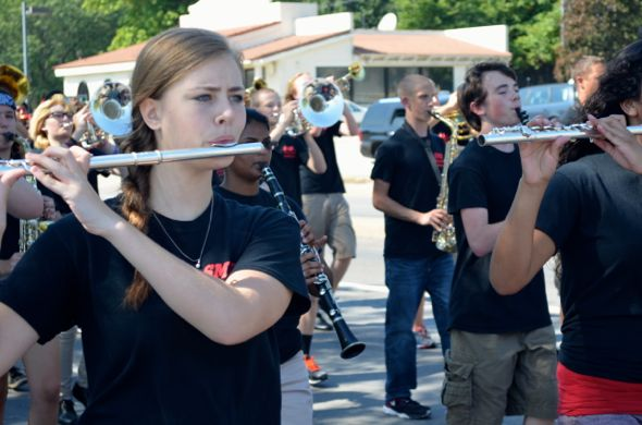 The SM North band brought the music that entertained spectators down Johnson Drive.