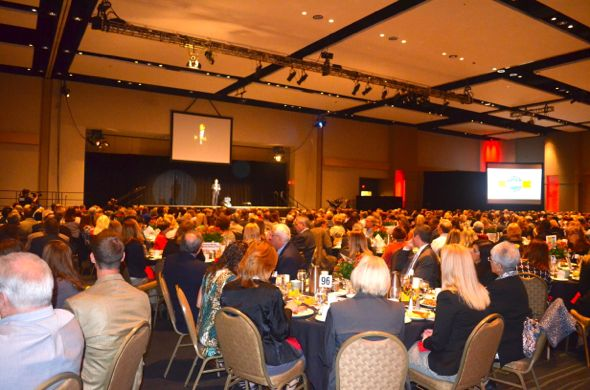The annual SMEF breakfast at the Overland Park Convention Center had 1,170 people registered, filling the space for Dr. Jim Hinson's speech.