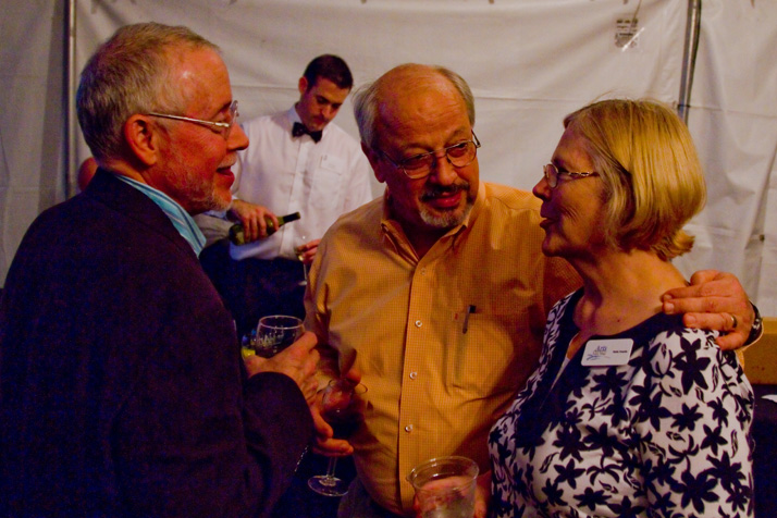 Former Arts Council member Randy Kronblad (from left), Mayor Ron Shaffer, and Arts Chair Shelly Trewolla were among the attendees at Friday's reception and party.