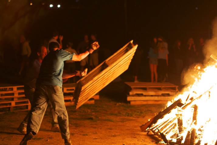 Lancer Gridiron Club dads keep the bonfire blazing.
