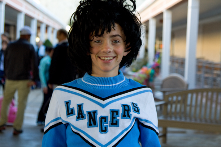 This young man has a lot of Lancer spirit, if not a lot of fashion sense.