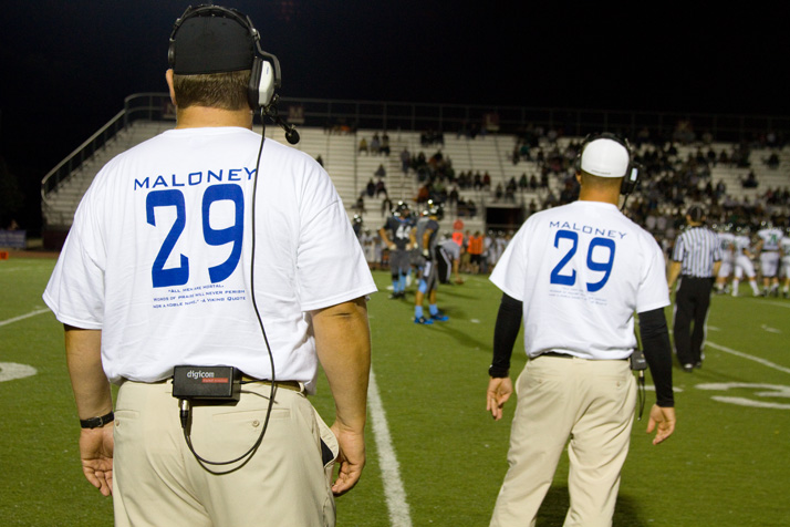 SM East coaches wore shirts commemorating SM West's Andre Maloney, and the players wore Maloney's #29 on their helmets.