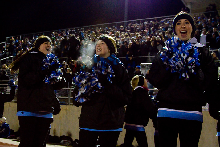 The impending victory made the cheerleaders cheerful.