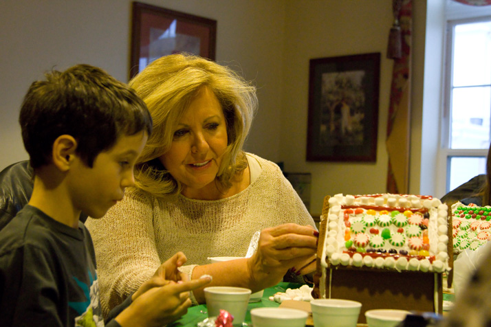 Phyllis Palmer and grandson Hayden Kelly, 8, engaged in some precision gumdrop placement.
