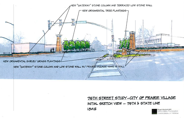 A monument at the intersection of State Line Road and 75th Street will let motorists know they are entering Prairie Village.