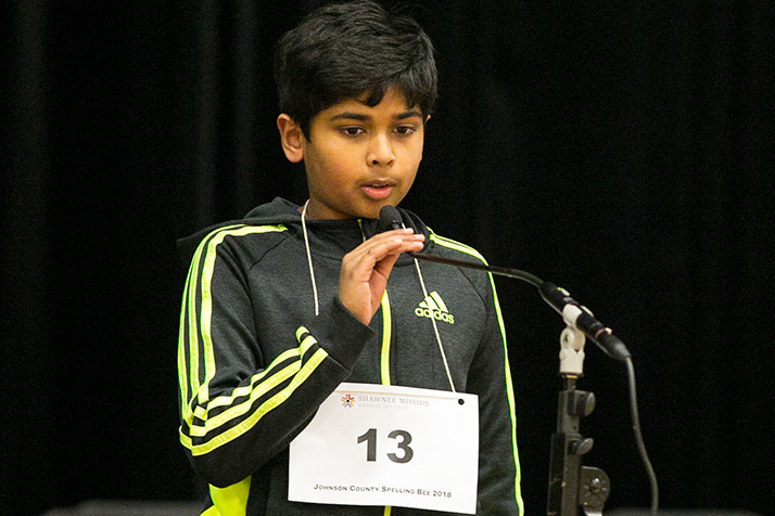 Rishi Shetty of Blue Valley's Aubry Bend Middle School is the Johnson County Spelling Bee champion.