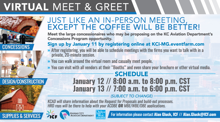 Featured Event: KCI Concessions Program virtual meet and greets Jan. 12 and 13