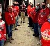 Overland Park public works staff in Chiefs gear