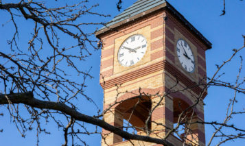 The clocktower in downtown Overland Park
