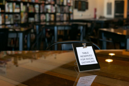 Cardboard Corner social distancing table