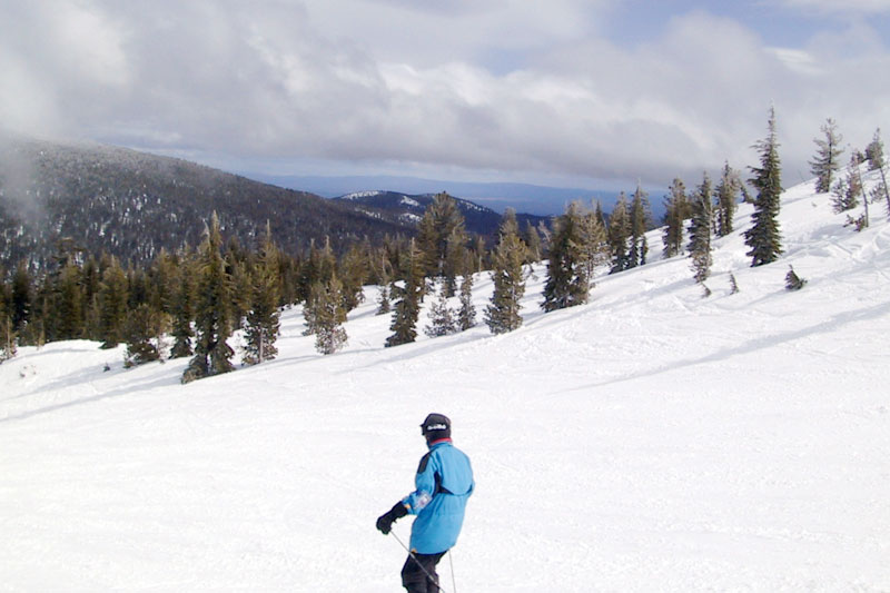 A person skiing
