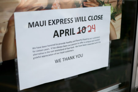 Maui Express closing sign
