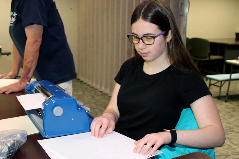 Brooke Petro competes in Braille Challenge