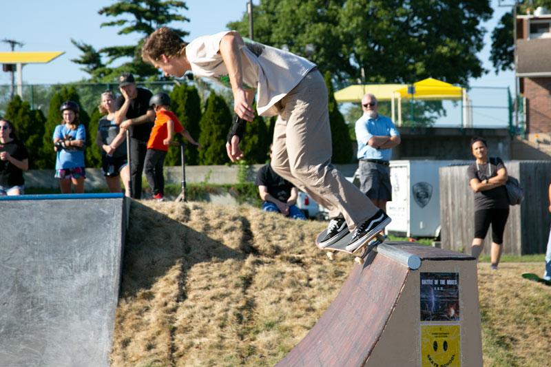 Skater uses quarter pipe